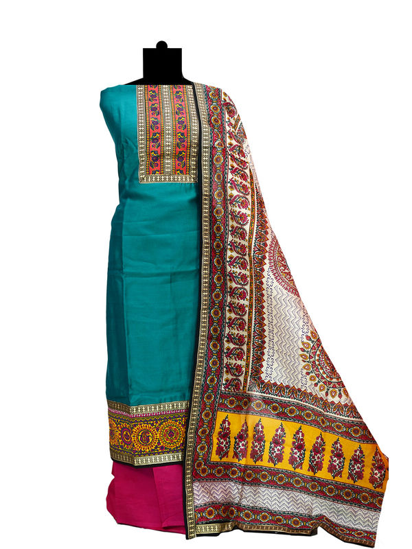 Sea Green Maeshwari Cotton Suit With Maeshwari Printed Dupatta