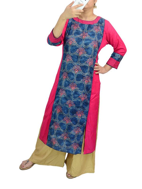Selfie Cotton Jaipuri Blue Magenta Kurta