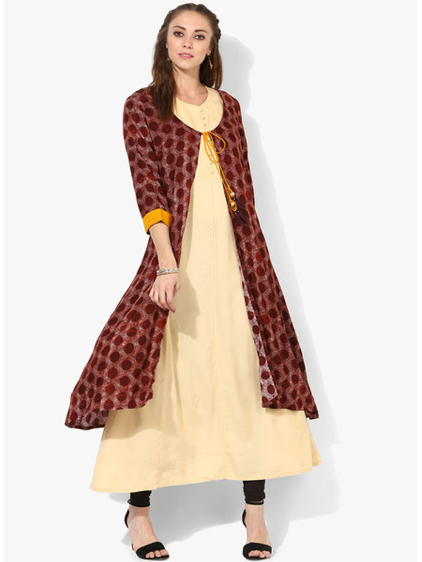 Shree Maroon Printed Kurta With Jacket