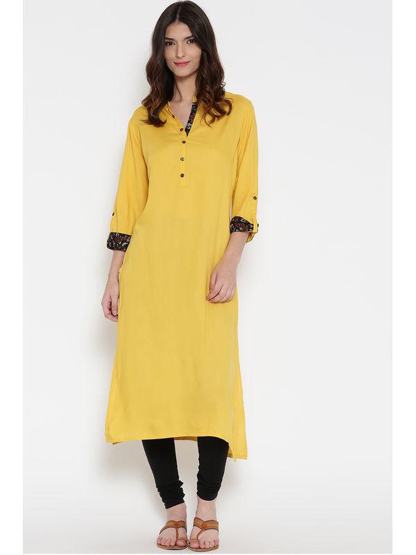 Shree Women Yellow Solid Straight Kurta
