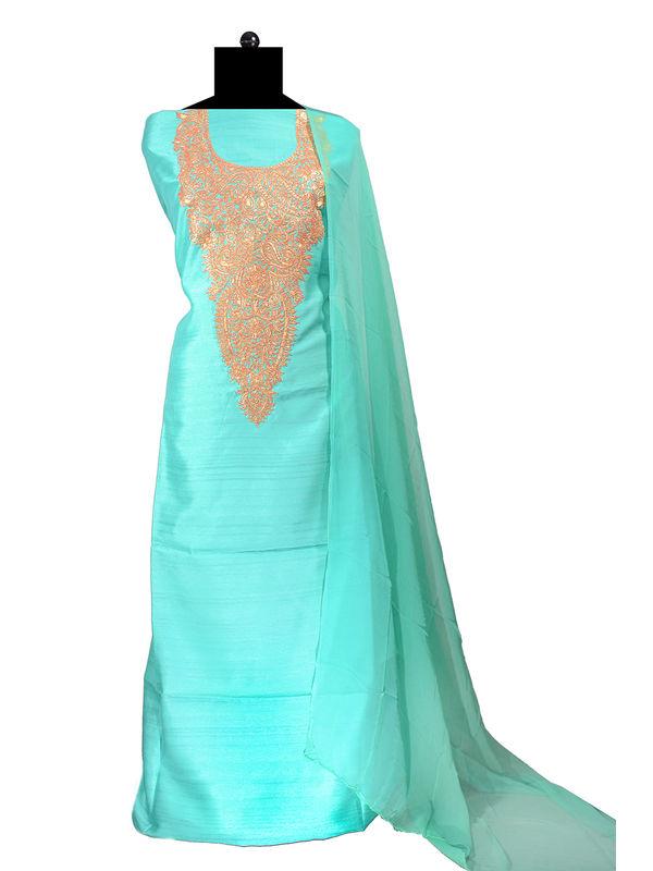 Tilla Work Green Color Silk Suit With Pure Chiffon Dupatta