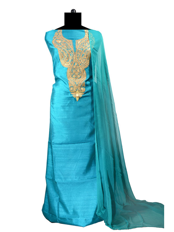 Tilla Work Sea Green Color Silk Suit With Pure Chiffon Dupatta