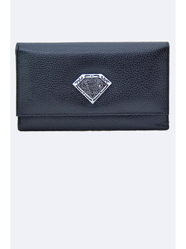 Women Black Genuine Leather Clutch From Elegance