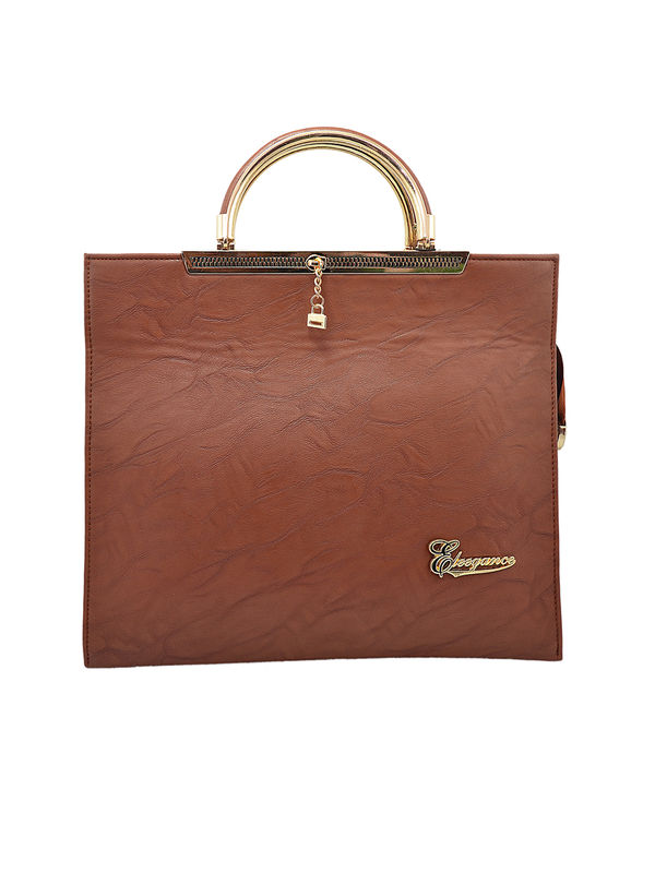 Women Formal Wood Brown Handbag From Elegance