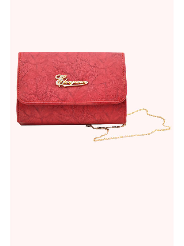Women Maroon Clutch From Elegance