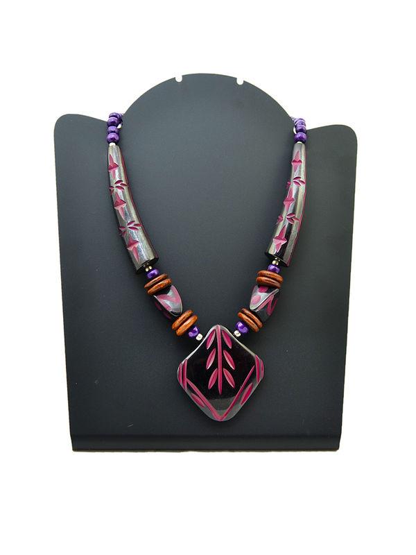 Wood Immitation Black Purple Necklace
