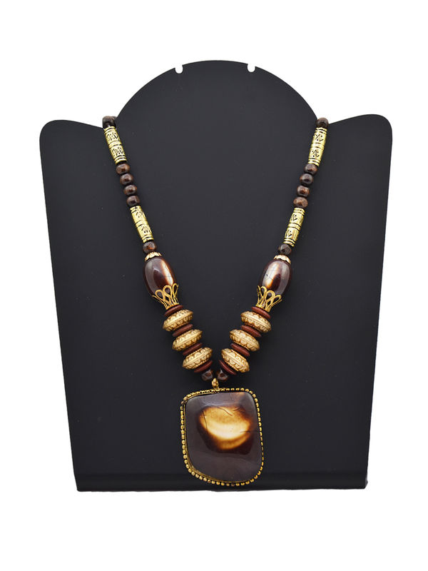 Wood Immitation Brown Beige Necklace