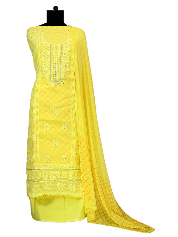 Yellow Full Embroidered Cotton Suit With Pure Chiffon Dupatta