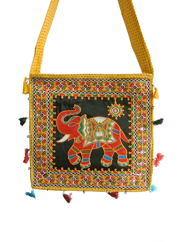 Yellow Hand Embroidered Multi Color Shoulder Bag