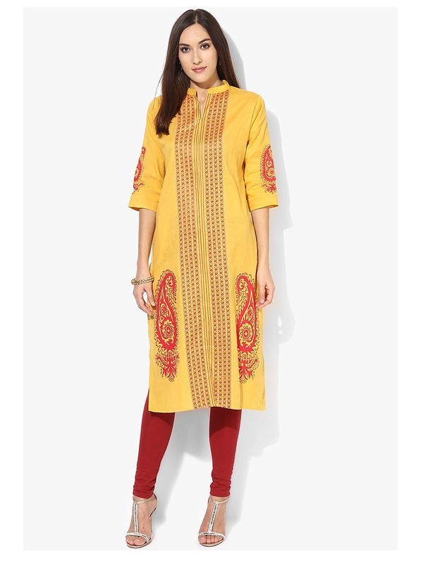 Shree Yellow Paisley Printed Cotton Kurta