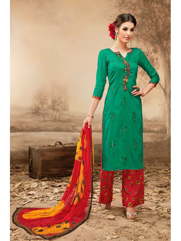 Pure Jama Cotton Green Color Suit With Self Negative Embroidery With Pure 30's Bember Chiffon Printed Duppata