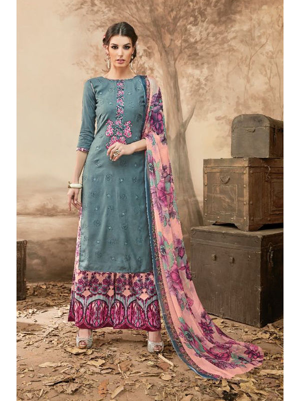 Pure Jam Cotton Grey Pink Suit With Self Negative Embroidery With Pure 30's Bember Chiffon Printed Dupatta