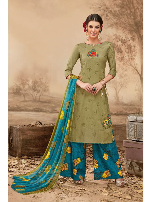 Pure Jama Cotton Olive Green Suit With Self Negative Embroidery With Pure 30's Bember Chiffon Printed Duppata