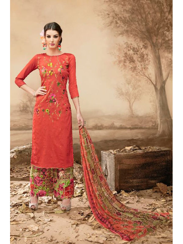 Pure Jam Cotton Orange Suit With Self Negative Embroidery With Pure 30's Bember Chiffon Printed Dupatta