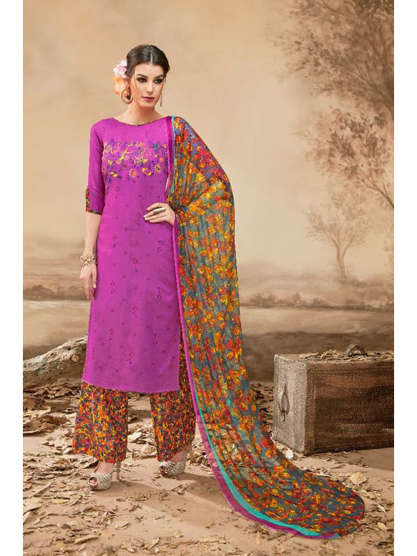 Pure Jam Cotton Purple Suit With Self Negative Embroidery With Pure 30's Bember Chiffon Printed Dupatta