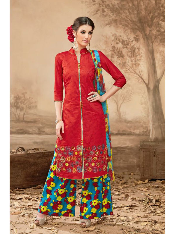 Pure Jam Cotton Red Suit With Self Negative Embroidery With Pure 30's Bember Chiffon Printed Dupatta