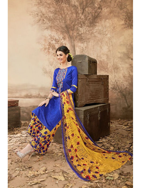 Pure Jam Cotton Royal Blue Suit With Self Negative Embroidery With Pure 30's Bember Chiffon Printed Dupatta
