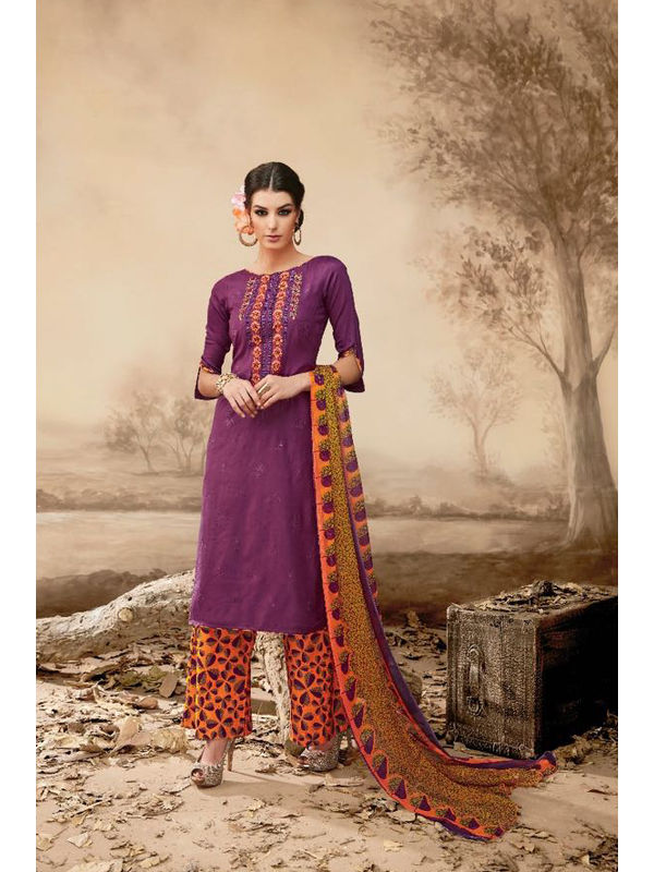Pure Jam Cotton Violet Color Suit With Self Negative Embroidery With Pure 30's Bember Chiffon Printed Dupatta