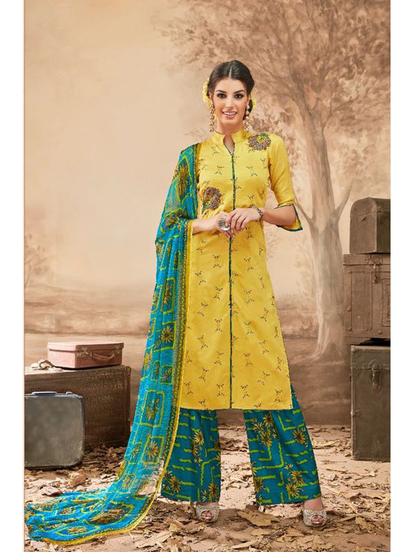 Pure Jam Cotton Yellow Suit With Self Negative Embroidery With Pure 30's Bember Chiffon Printed Dupatta