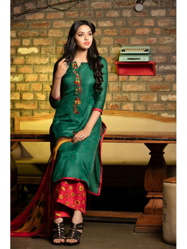 Pure Pashmina Bottle Green Dyed With Self Negative Embroidery With Pure 30's Bember Chiffon Printed Duppata