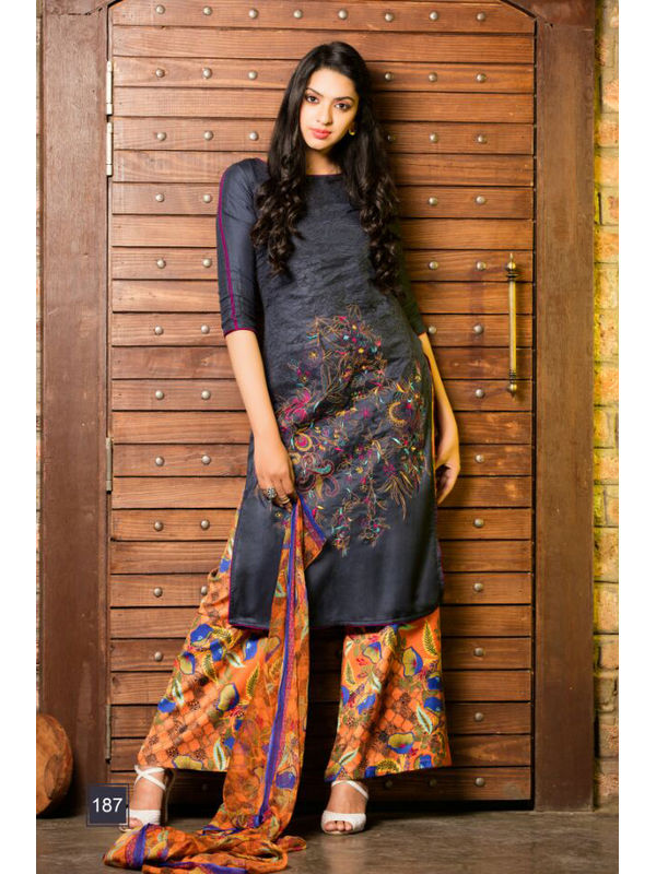 Pure Pashmina Navy Blue Dyed With Self Negative Embroidery With Pure 30's Bember Chiffon Printed Dupatta