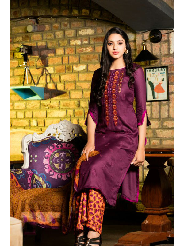 Pure Pashmina Purple Dyed With Self Negative Embroidery With Pure 30's Bember Chiffon Printed Dupatta