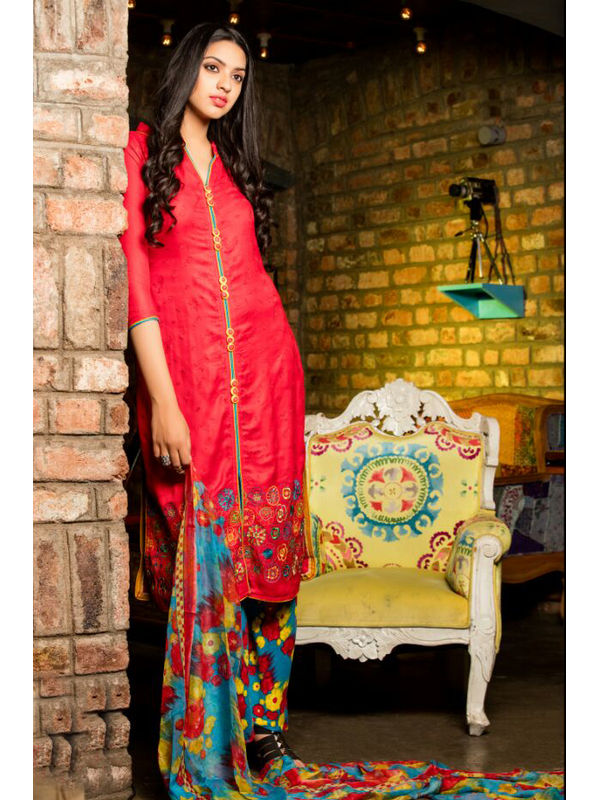 Pure Pashmina Red Dyed With Self Negative Embroidery With Pure 30's Bember Chiffon Printed Dupatta