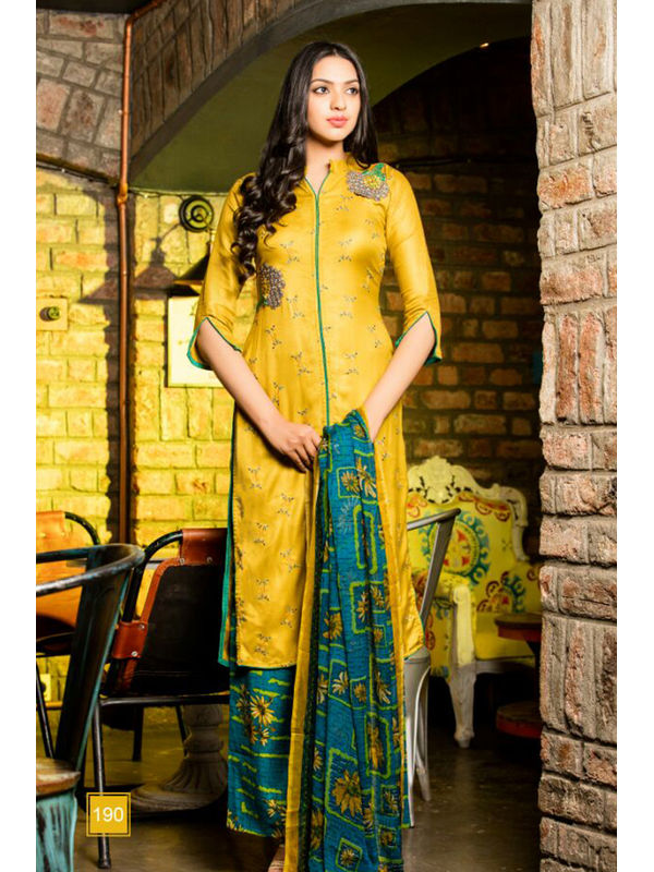 Pure Pashmina Yellow With Self Negative Embroidery With Pure 30's Bember Chiffon Printed Dupatta