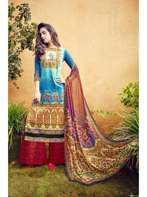 Blue Green Lawn Cotton Printed Suit With Red Embroidered Palazzo
