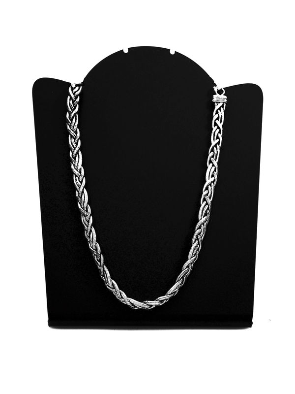 Raw Silver Oxidised Tribal Chain