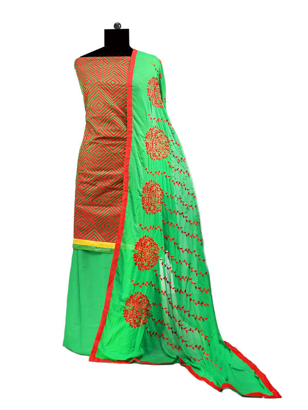 Red Green Cotton Embroidered Suit With Embroidered Dupatta