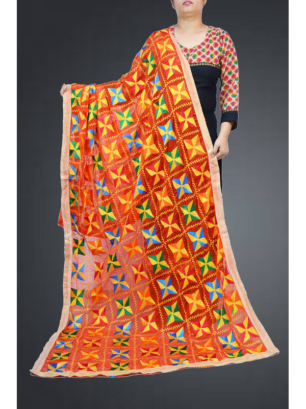 Red Multi Embroidered Phulkari Dupatta
