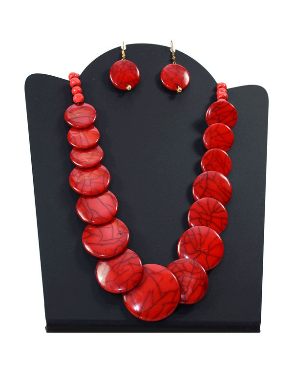 Red Stone Pearled Ethic Necklace With Earrings