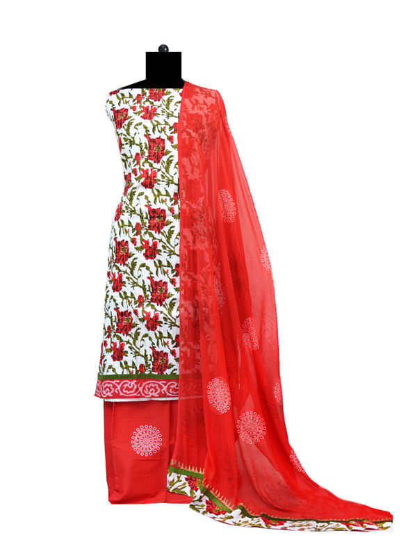 Red White Printed Cotton Suit With Dupatta