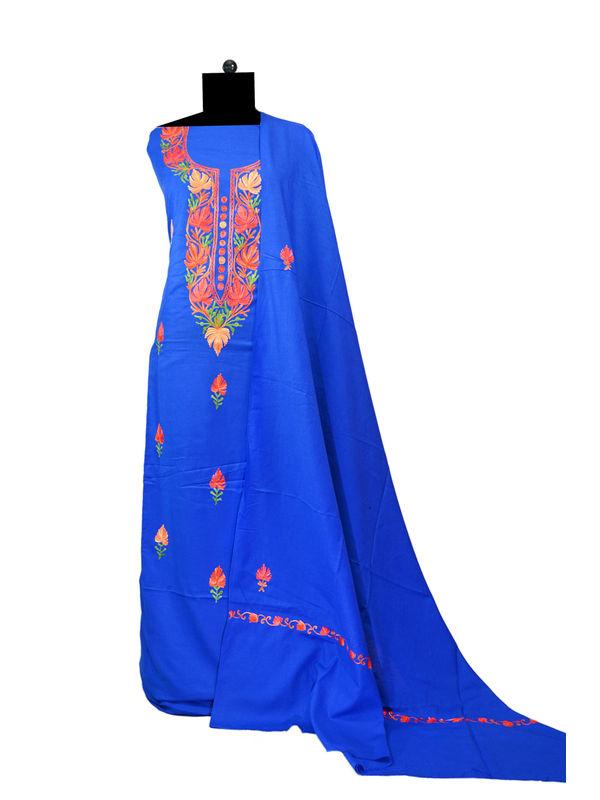 Royal Blue Kashmiri Aari Work Pure Cotton Suit With Dupatta