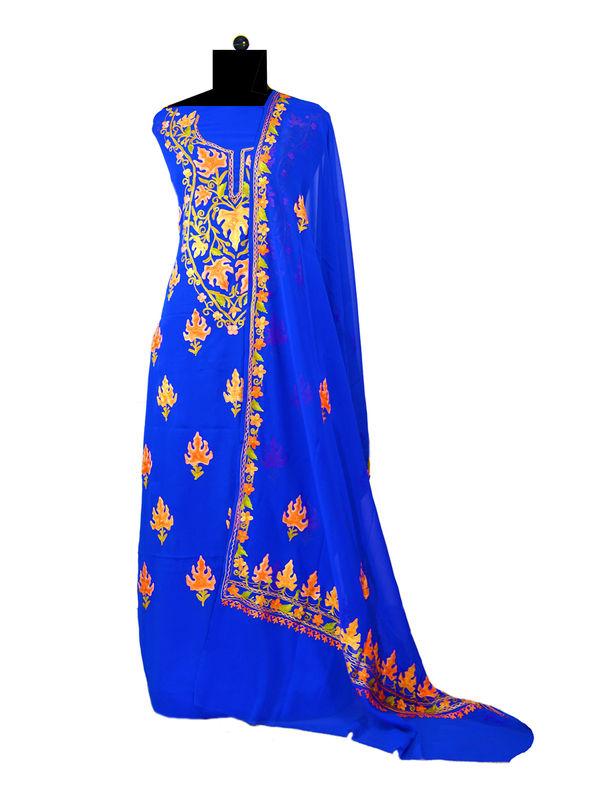 Royal Blue Kashmiri Aari Work Pure Georgette Suit With Dupatta