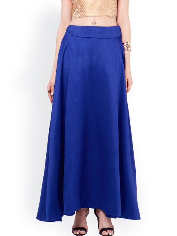 Royal Blue Silk Long Skirt