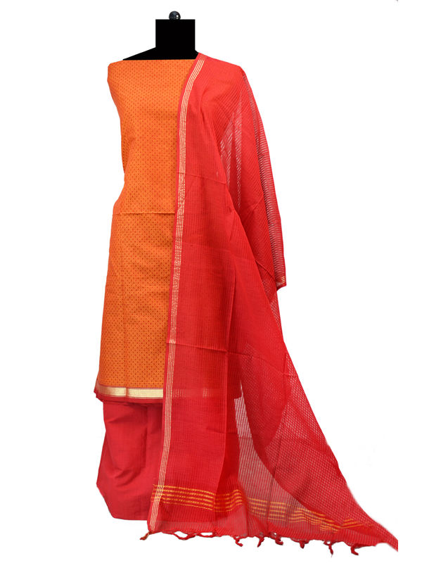 Rust Red South Cotton Printed Suit With Cotton Dupatta