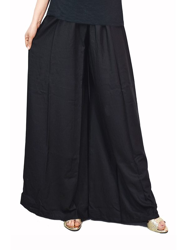 Flaired Black Cotton Palazzo