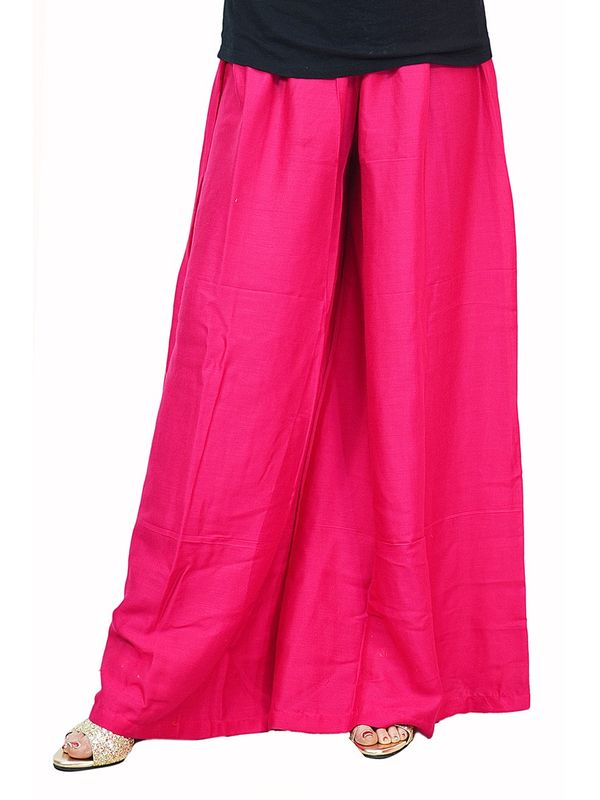 Flaired Magenta Solid Cotton Palazzo
