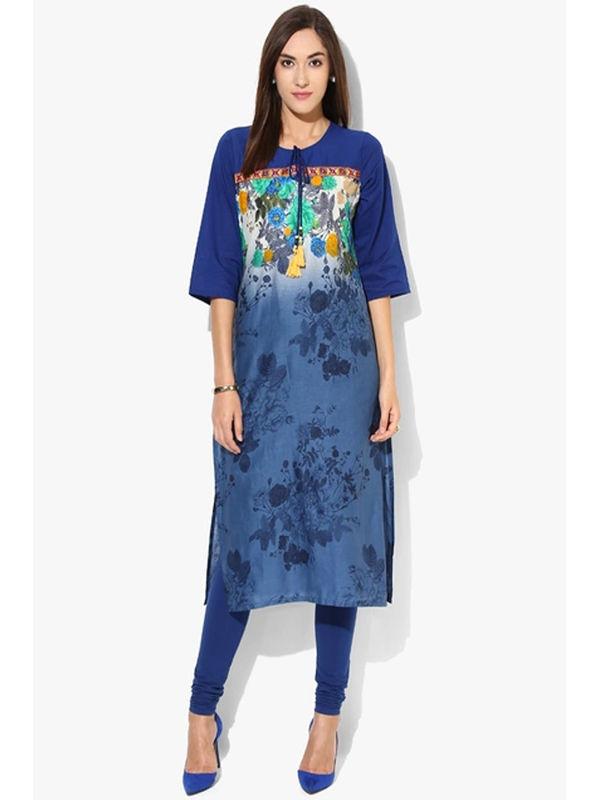 SHREE Cotton Blue Embroidered Printed Kurta