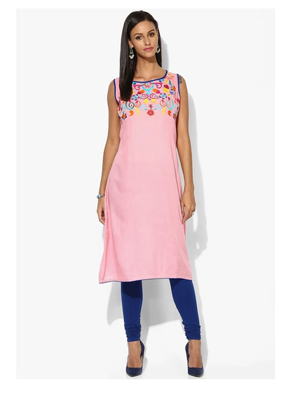 SHREE Cotton Pink Floral Embroidered Kurta