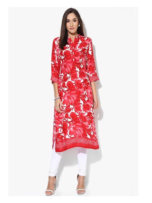 SHREE Cotton Red Floral Printed Kurta