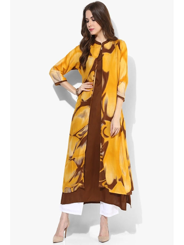 SHREE Yellow Printed Cotton Kurta