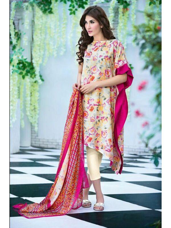 Pakistani Un-stitchedMulti-Color Pure Cotton Lawn Suit