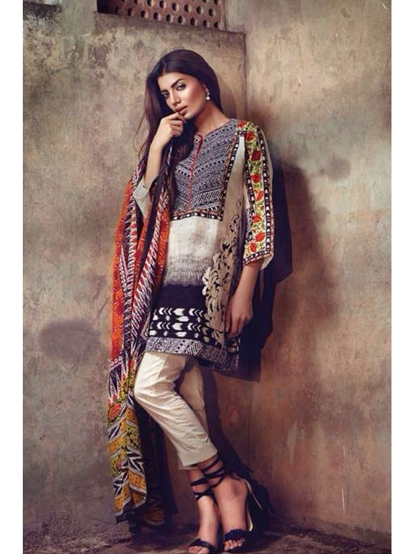 Beige & Black Pure Lawn Cotton Suit With Karachi Embroidery