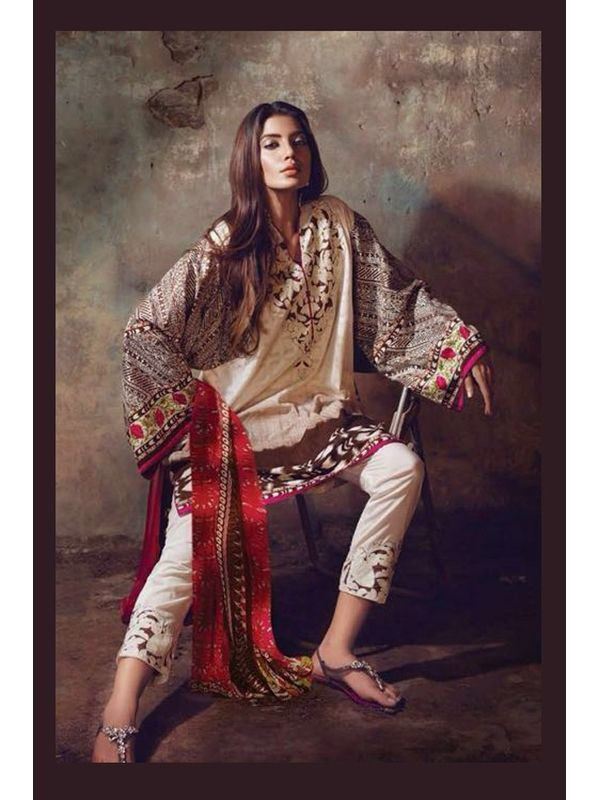 White & Beige Pure Lawn Cotton Suit With Karachi Embroidery