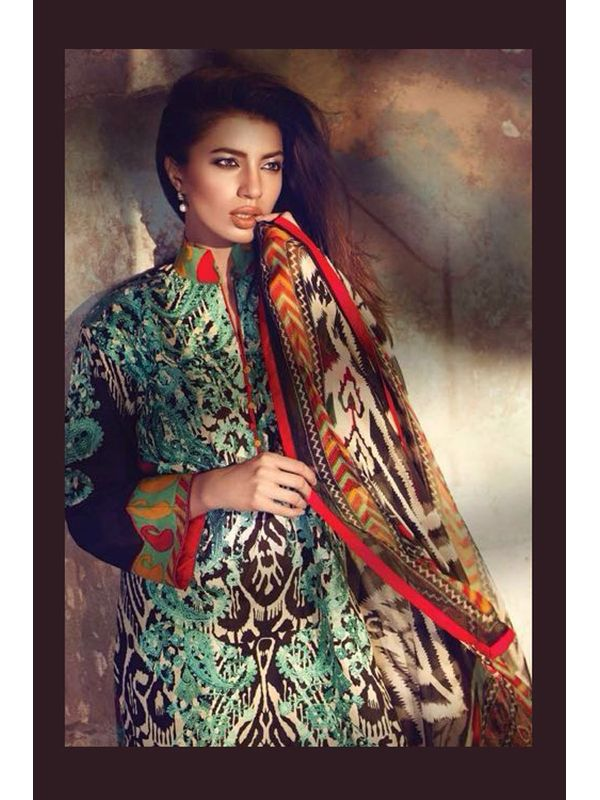 Green & Orange Pure Lawn Cotton Suit With Karachi Embroidery