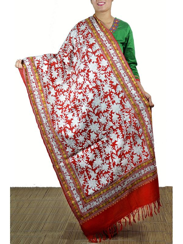 Red Pure Wool Kashmiri Stole With Combination of Tilla Work and Aari Work