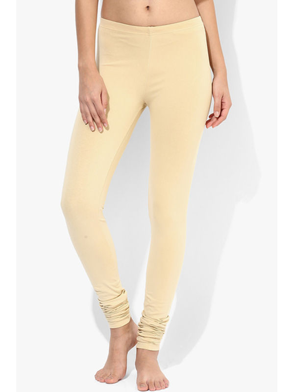 Beige Cotton Slim Fit Legging